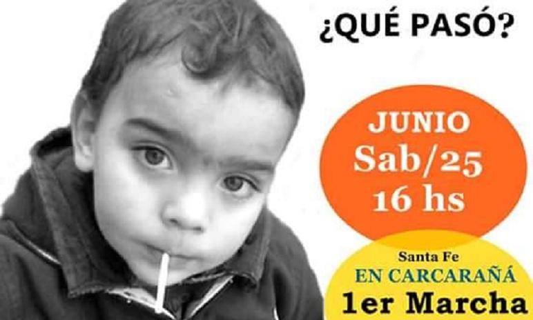 El afiche de la marcha que convocan los vecinos de Carcarañá.