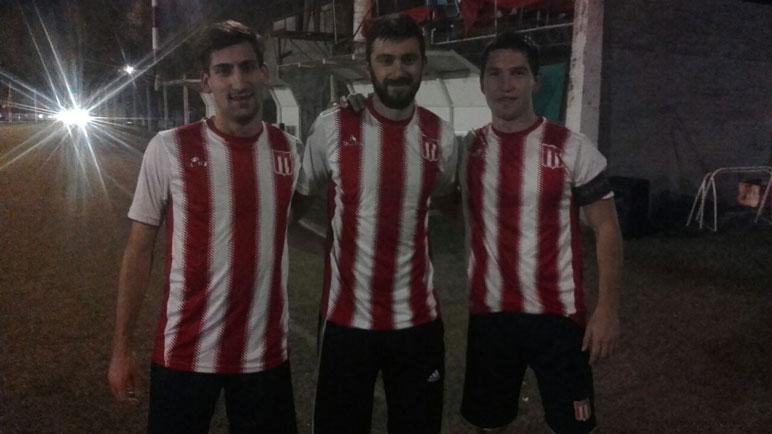 Los goleadores de la noche: Lugas, Salguero y Rossi.
