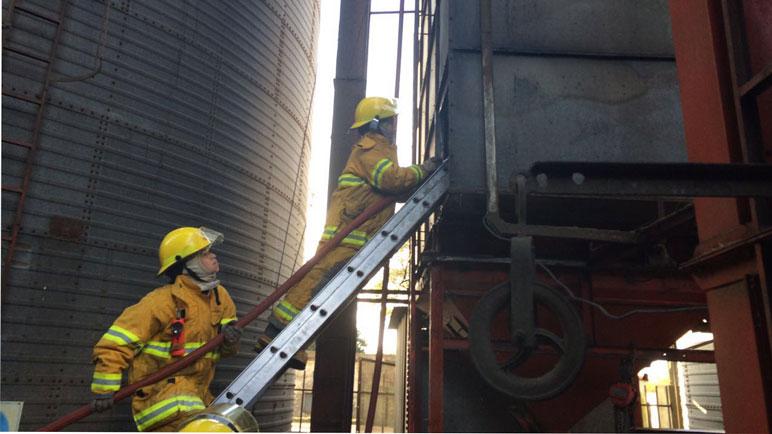 Los bomberos trabajando en el lugar.