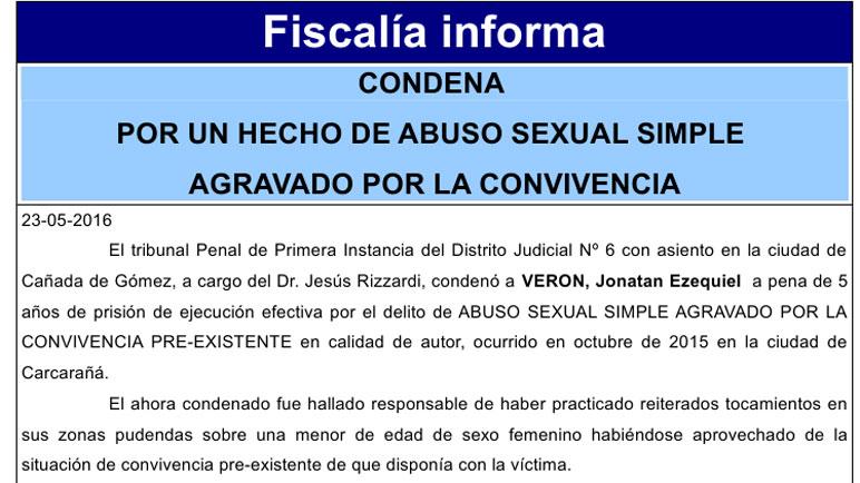 El parte oficial de la Fiscalía de Cañada de Gómez.