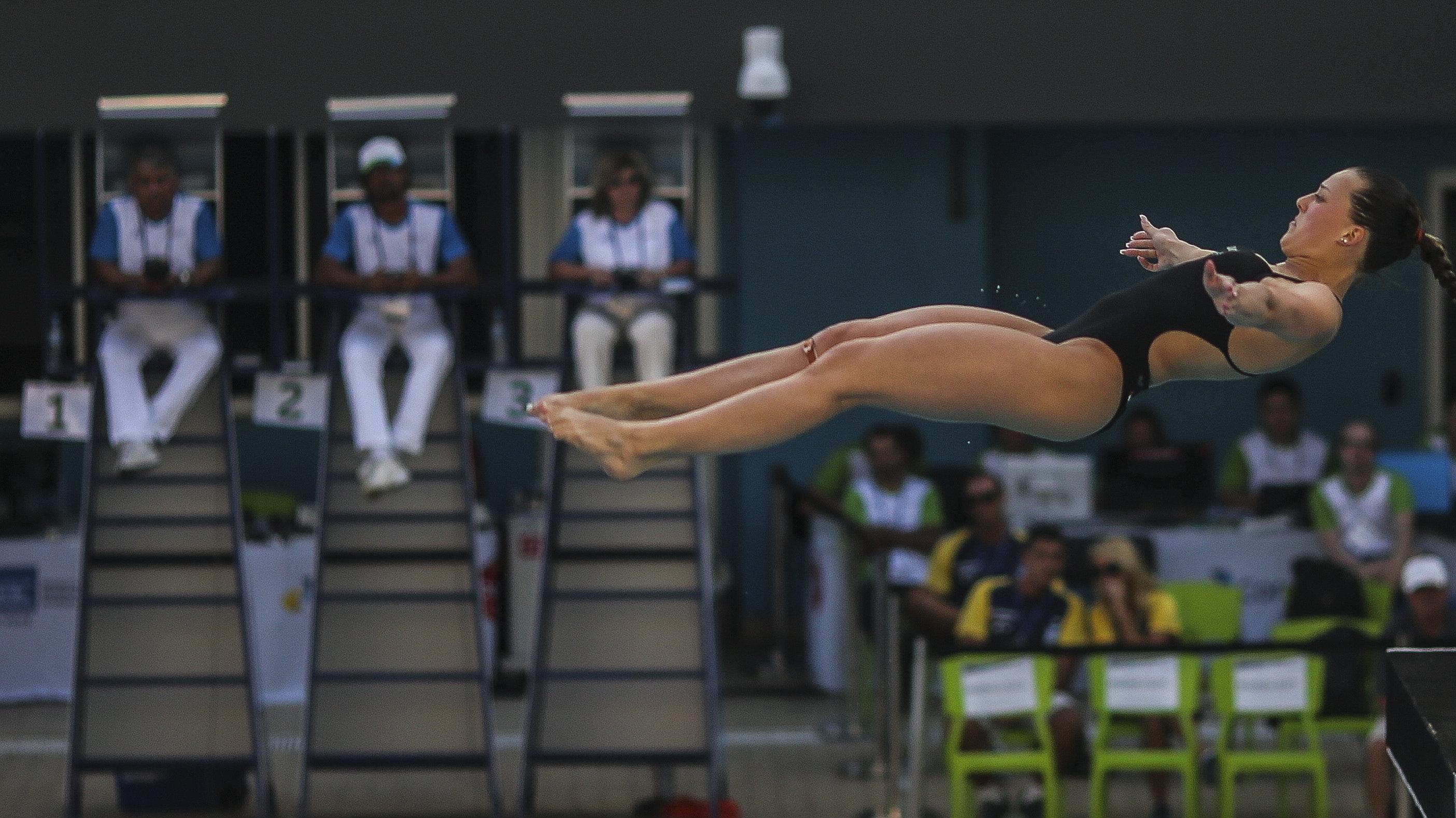 La holandesa Inge Jansen en la Competencia de Saltos Ornamentales de Río de Janeiro.