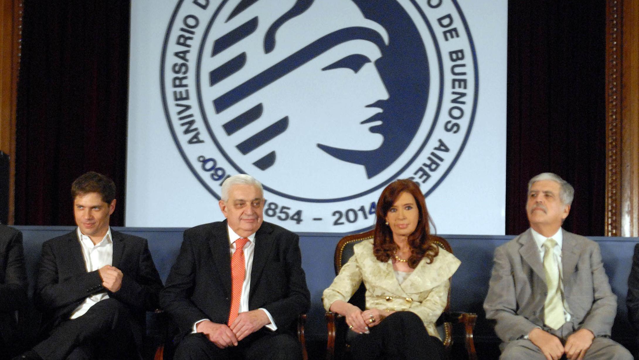 Kicillof, Gabbi, Cristina Fernández y De Vido en el acto de 2014
