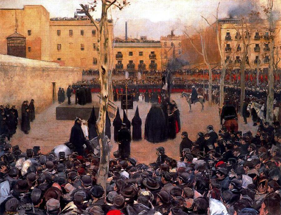 Hasta finales del siglo XIX las ejecuciones de los reos condenados a la pena capital se llevaban a cabo en lugares públicos.