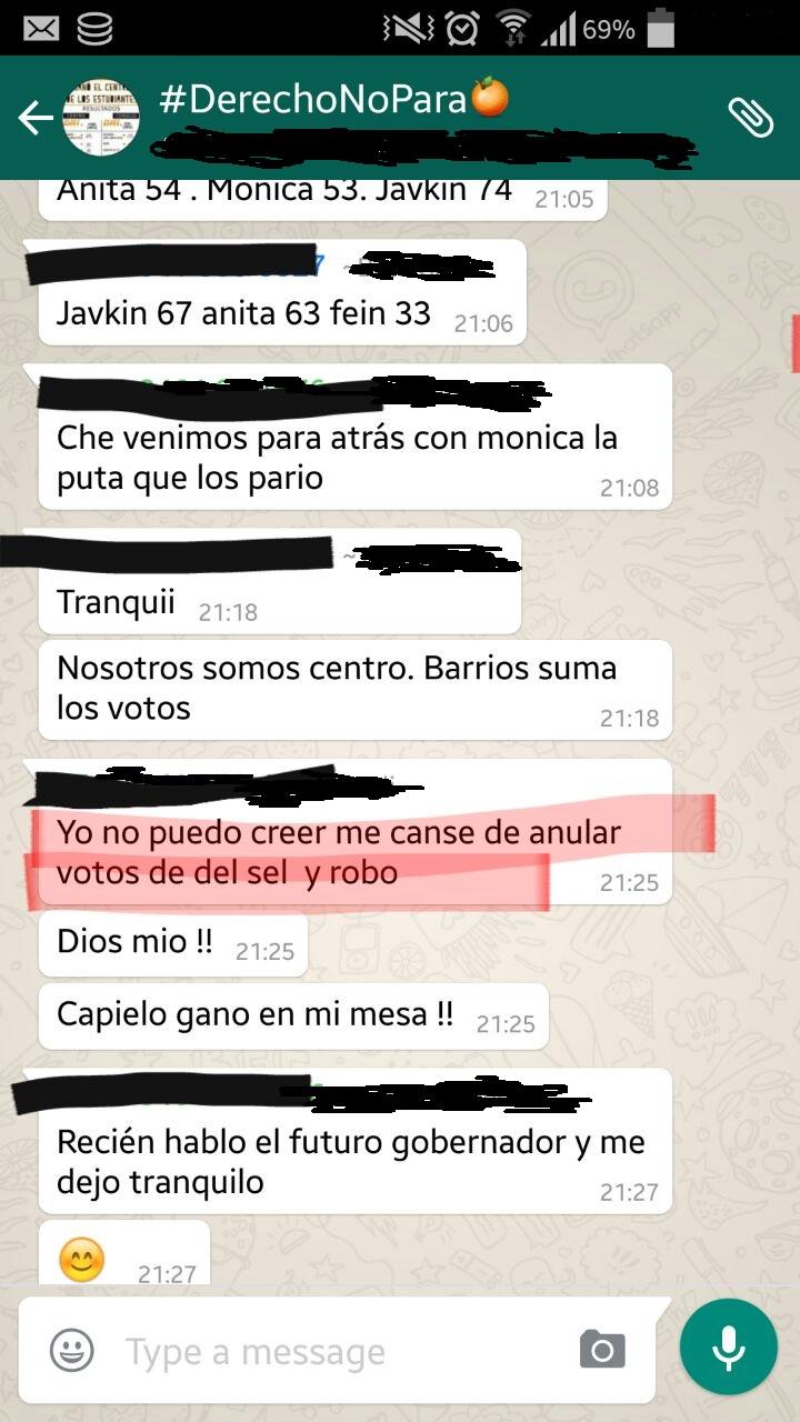 Captura de la aplicación WhatsApp que presentó el concejal del Pro