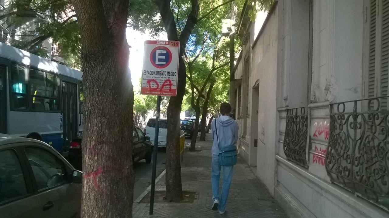 Un cartel de tránsito, y hasta un árbol, con pintura roja. Foto: Rosario Plus