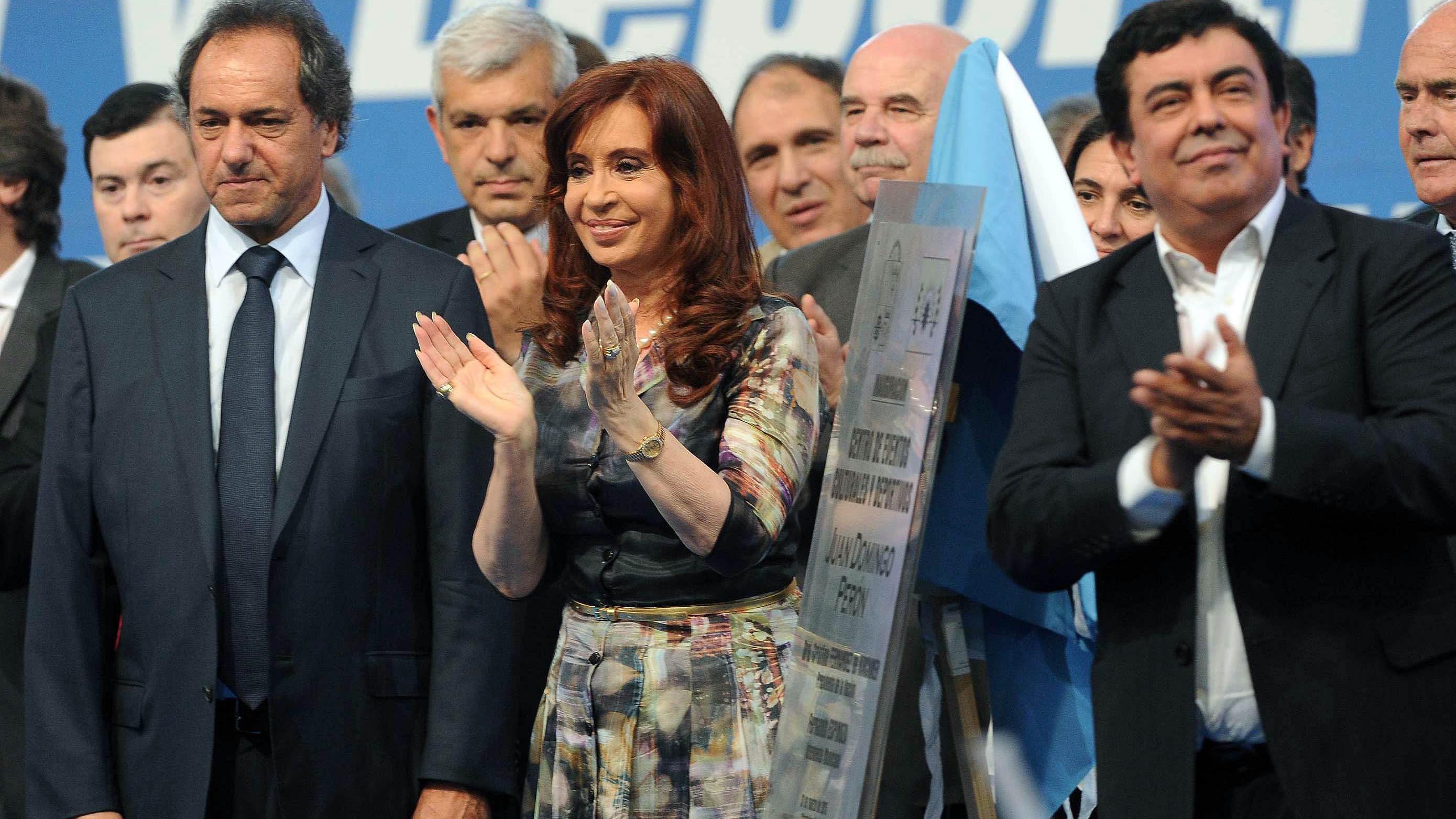 La presidenta durante el acto de inauguración de la red de agua potable en La Matanza