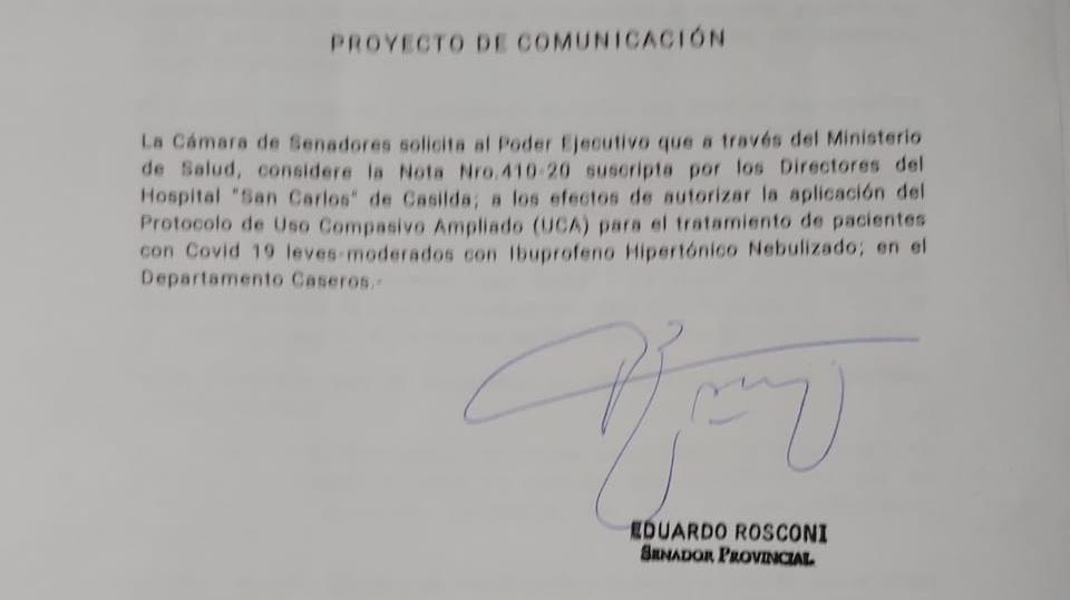 Proyecto de comunicación del senador provincial Eduardo Rosconi.