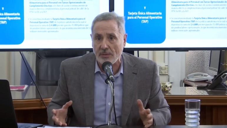 Marcelo Saín en conferencia de prensa.