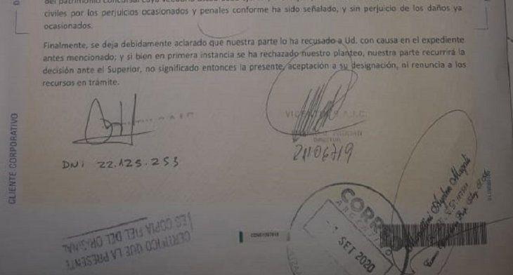 Captura de la carta documento que Vicentin le envió al veedor Arelovich (Fuente: Ambito.com).