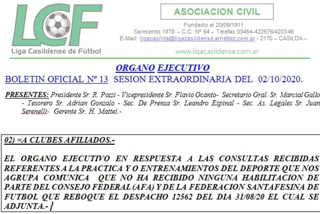 El boletín extraordinario que difundió la Liga Casildense durante el fin de semana.