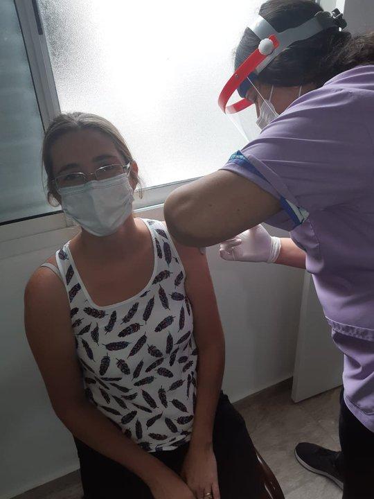 Se vacunaron las primeras cincuenta personas en Pujato contra el coronavirus. (Foto: Pujato Digital).
