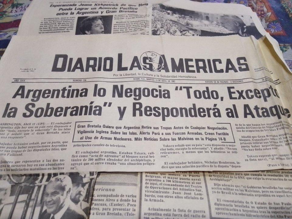 Portada del Diario de las Américas. 13 de abril de 1982